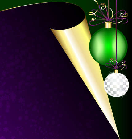 purple paper and Christmas balls Stock Vector - 11023794
