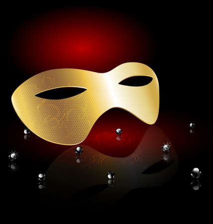 golden carnival half-mask Vector