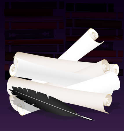 writing instrument: paper scrolls and old pen