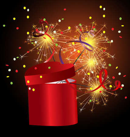 decoraded: red gift box with sparkler