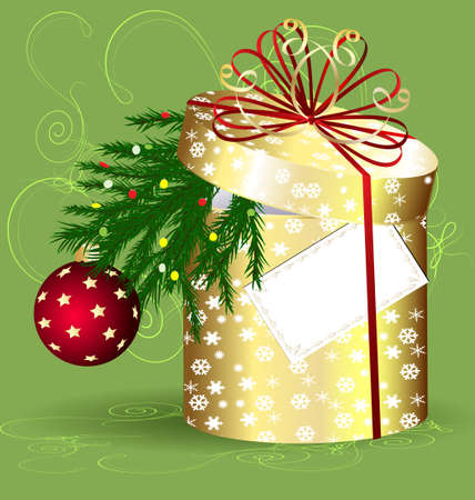 decoraded: yellow Christmas box Illustration