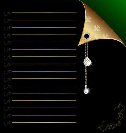 ball and chain: black-green paper with gold corner and crystal