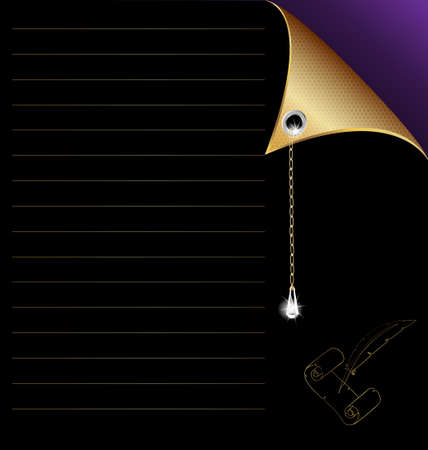 writting: black-purple paper with gold corner and crystal