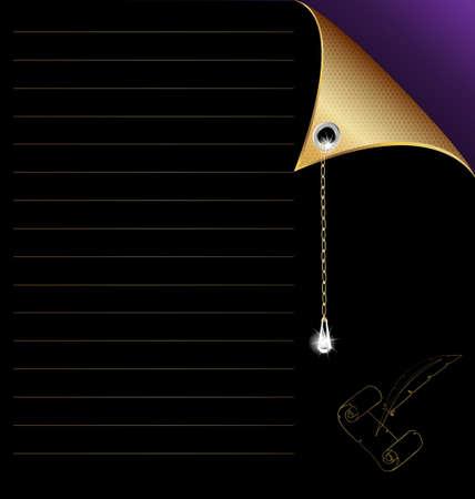 negro-púrpura de papel con la esquina de oro y cristal Ilustración de vector