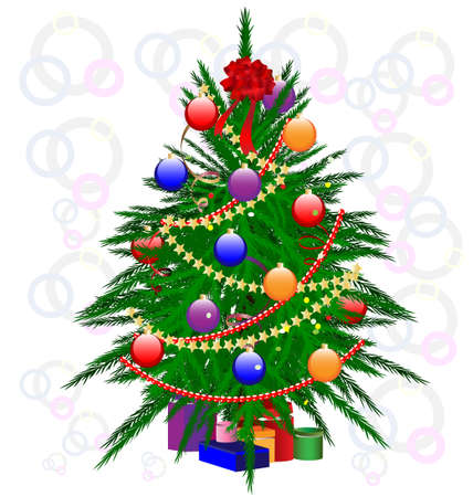 decoraded Christmas tree Vector