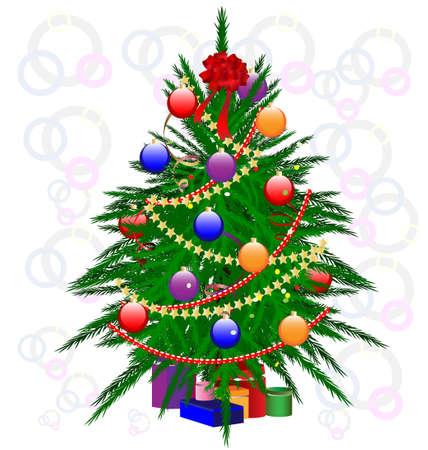 decoraded Christmas tree Vector