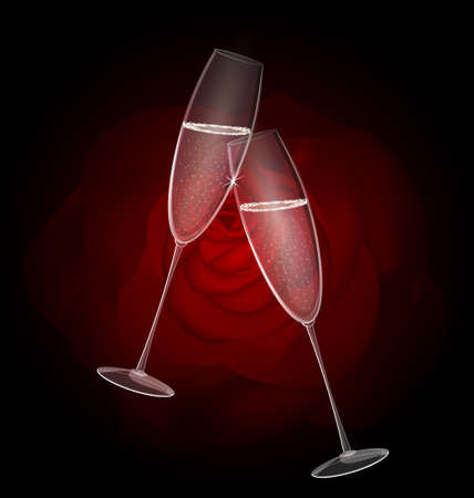 felicitate: two champagne Illustration