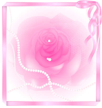pink rose and pearl Vector