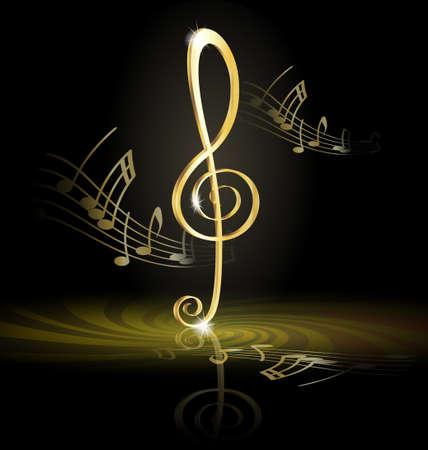 notes de musique: cl� de sol