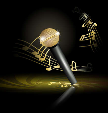 gold string: golden microphone Illustration