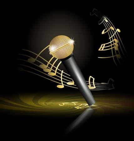 golden microphone Stock Illustratie