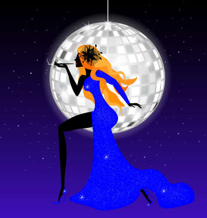 black haired: lady-night in blue Illustration