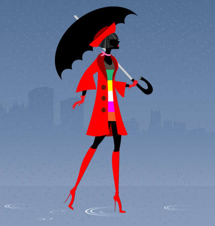 large woman: girl in the rain Illustration