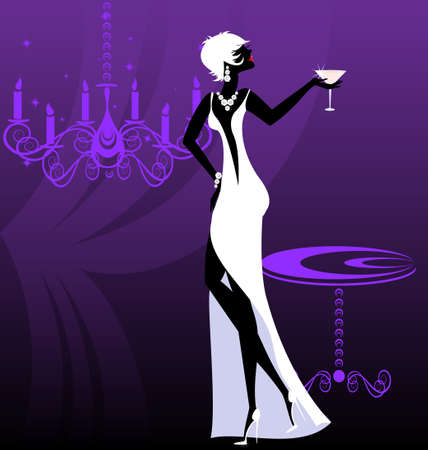 lady-night in white Stock Vector - 11258189
