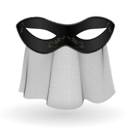 black carnival half-mask and veil Stock Vector - 11258194