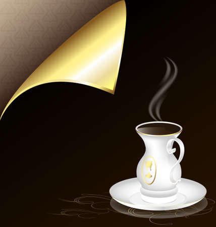 gold corner: black sheet with a golden corner and white old-fashioned cup Illustration
