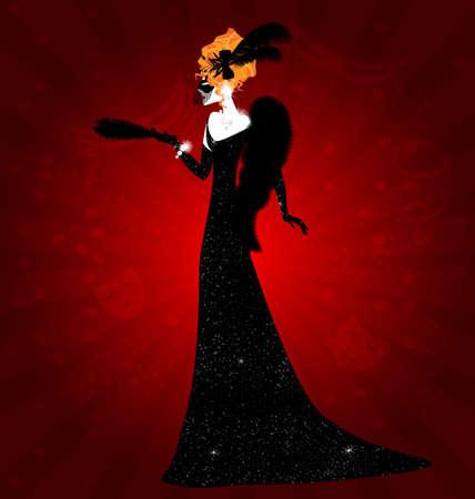 fraue: Dame und schwarze Maske