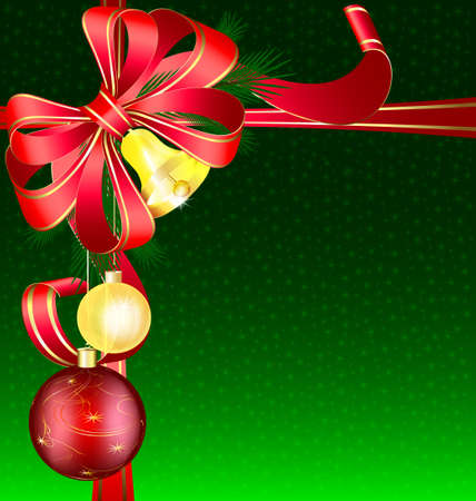 large ball: Christmas green background