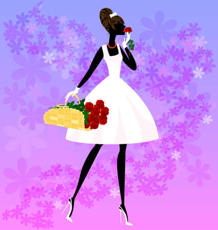 womens clothing: girl and a basket of roses Illustration