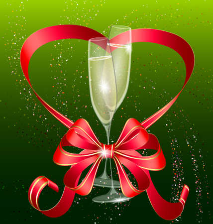 decoraded: two champagne and red bow Illustration