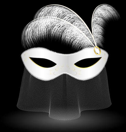 venetian mask: white carnival half-mask and feathers