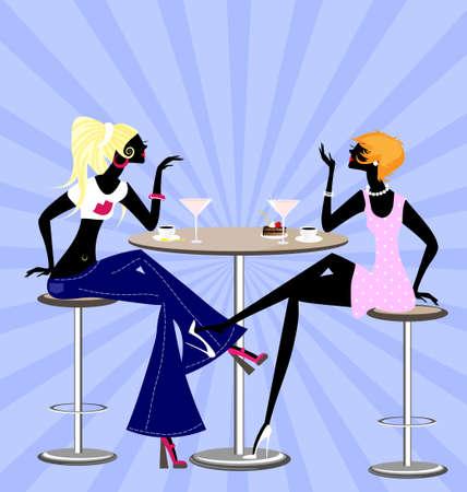 amigos comiendo: dos ni�as amigos Vectores