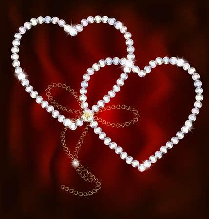 shaped: two jewel hearts