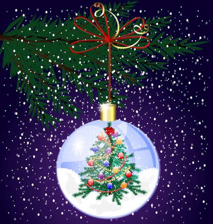 decoraded: Christmas tree and snow Illustration