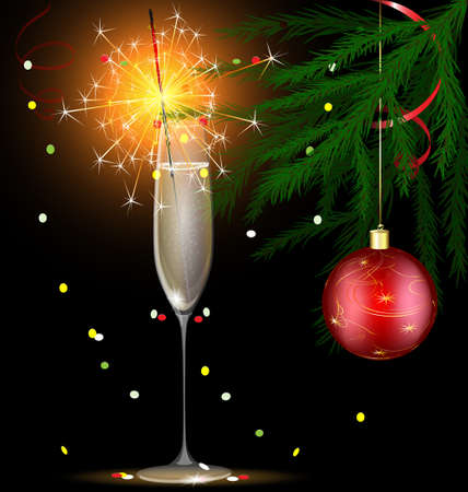 champagne and Christmas sparkler Vector