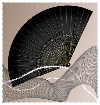 black fan: old black fan Illustration