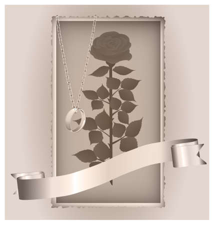 retro rose and ring Vector