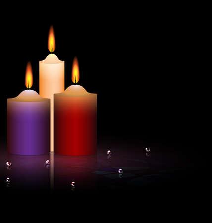 불을 붙이다: 세 개의 촛불 일러스트