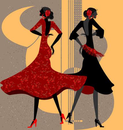 donna spagnola: due ballerini di flamenco Vettoriali