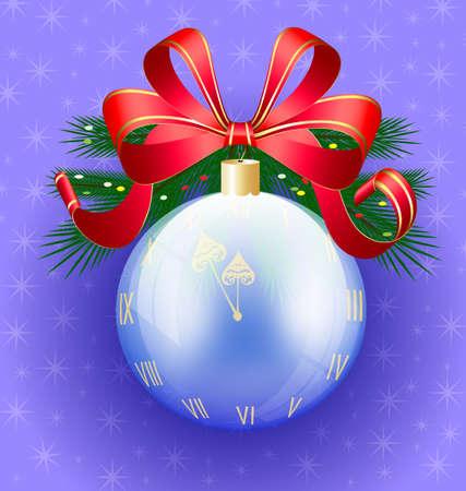 Christmas ball-clock Vector