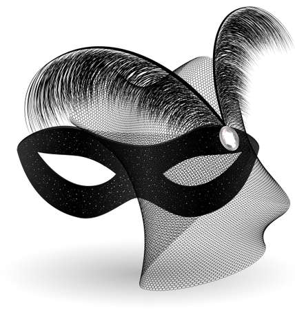black carnival half-mask and feathers