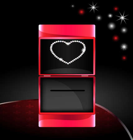 hacer el amor: caja de regalo abstracto con el corazón de joyería Vectores