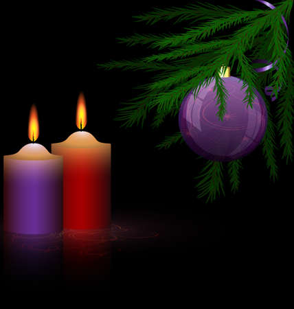 Christmas tree and candles Vector