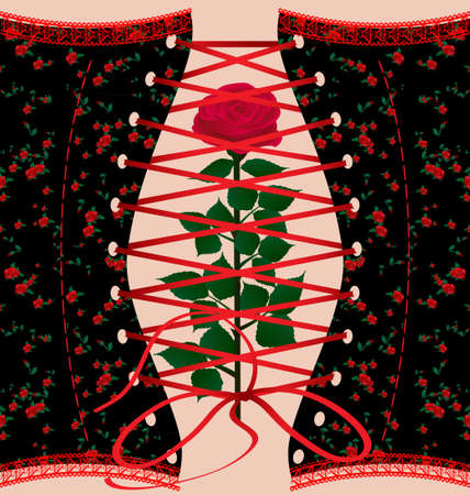 corset and rose Vector