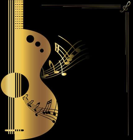nota musical: Fondo de la guitarra de oro