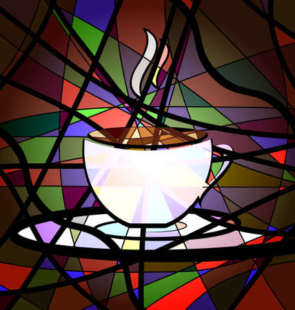 creation: many-colored background variation: abstract image cup of coffee consisting of lines