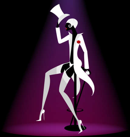 on abstract black background is a black-white silhouette cabaret actor