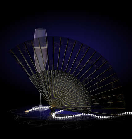 decoraded: on a dark-blue background are glass of champagne, black-golden fan and beads