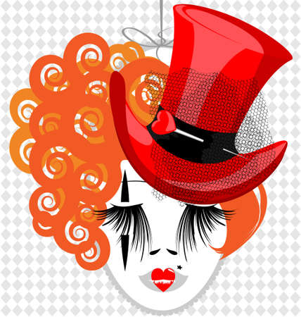 womens clothing: in an oval frame is outlines womans red-haired head with red old-fashioned hat