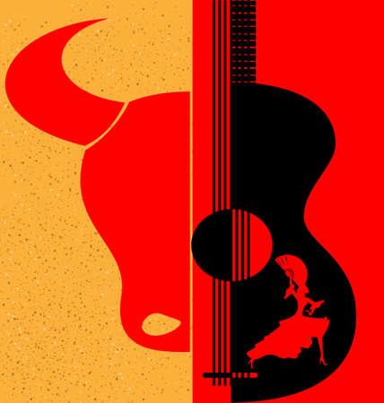 na tle czerwono-żółtym są abstrakcyjne sylwetki hiszpański tancerz, byka i gitarę