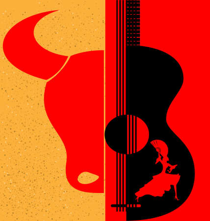 on red-yellow background are abstract silhouettes of Spanish dancer, bull and guitar