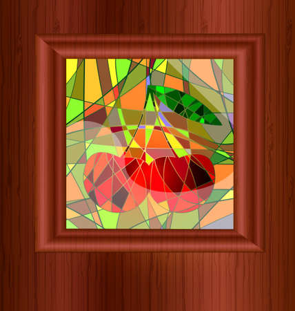 cherry wood: many-colored background variation: wood and stained glass