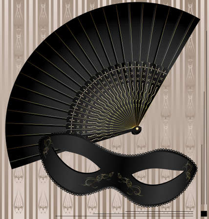 womans: old mask and fan