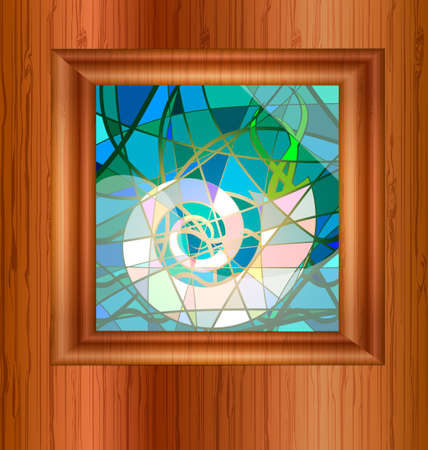 light wood and stained glass Stock Vector - 11855884