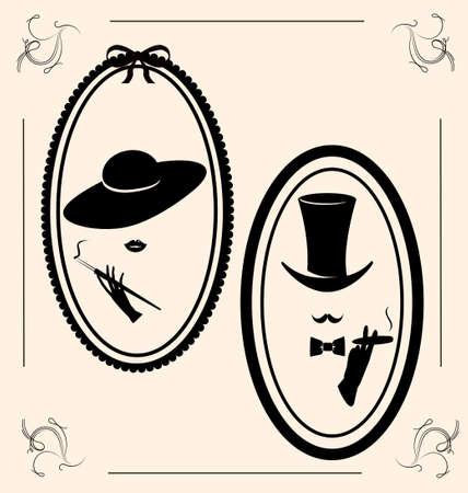 Vintage Frau und des Mannes Bild Illustration