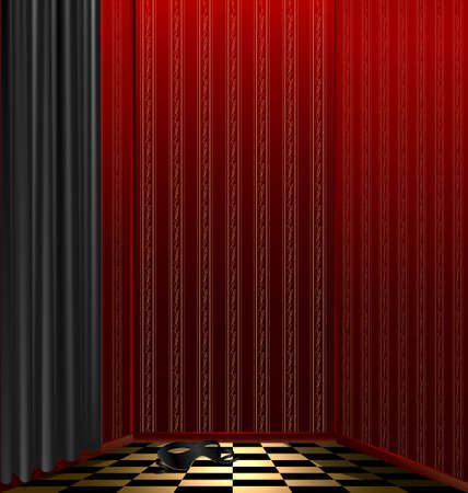 red room-box, black drape and carnival mask on the floor